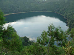 Seven native boys saw the huge ropen fly over this crater lake